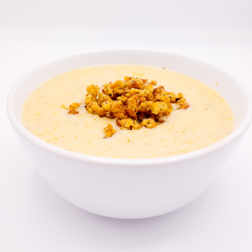 The KETO Kitchen Broccoli Cheddar Soup Meal with Crumbs